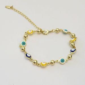 Gold Evil Eyes Bracelet